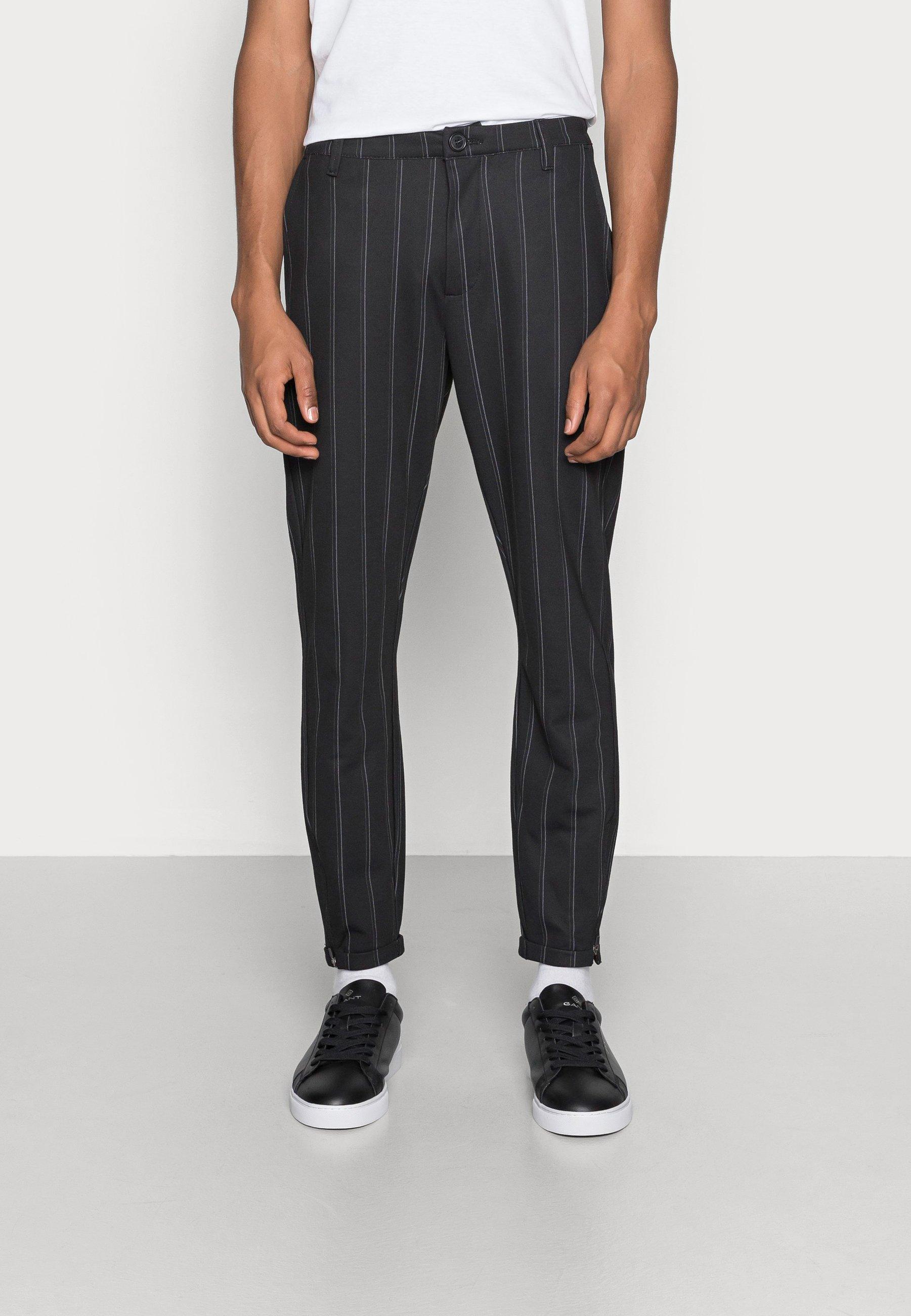 Uomo PISA STRIPE PANT - Pantaloni - black