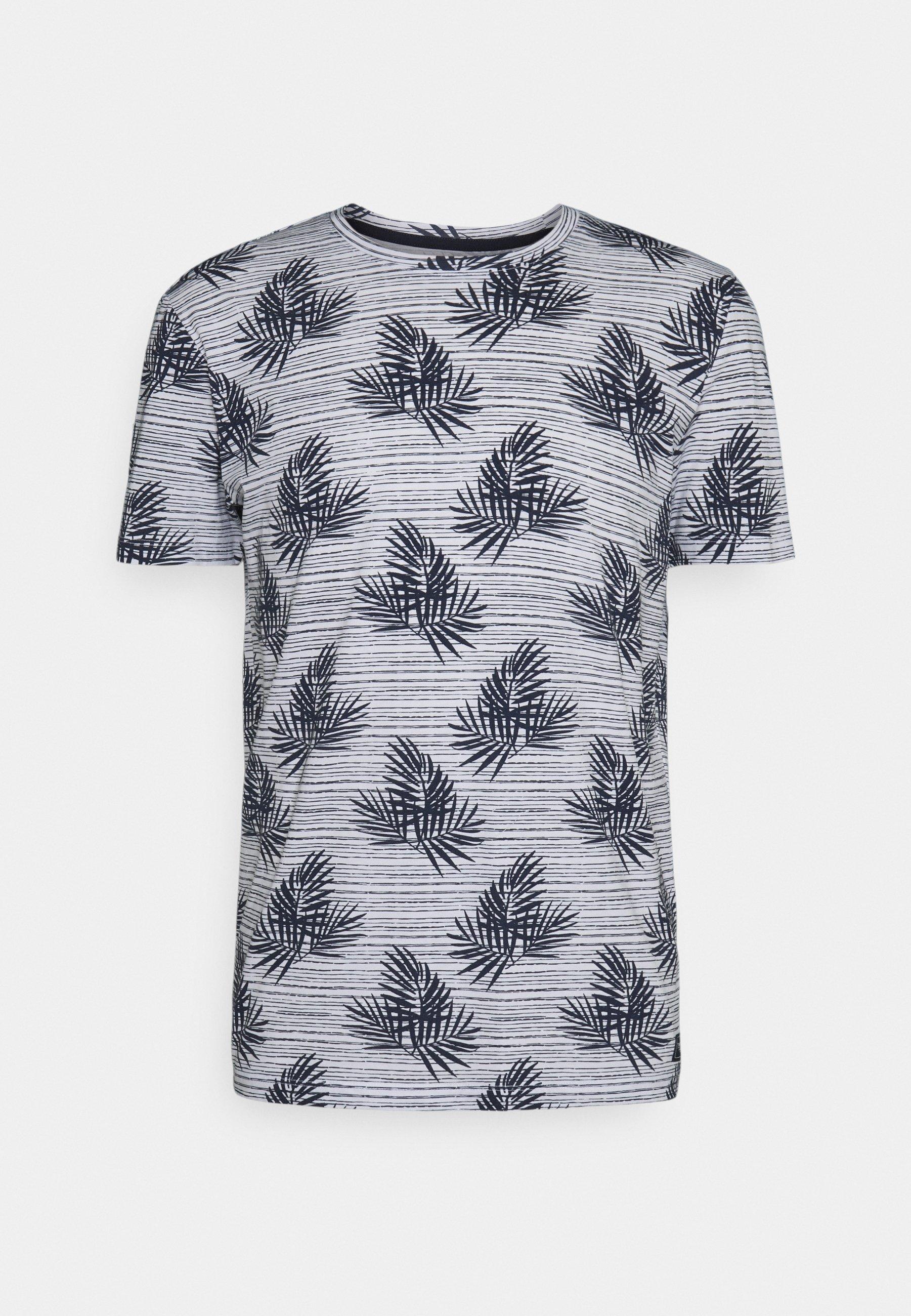 Men SUMMER LEAF PATTERN - Print T-shirt - white/navy