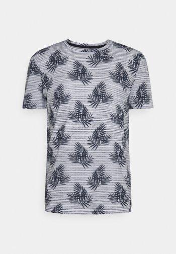 SUMMER LEAF PATTERN - Print T-shirt - white/navy
