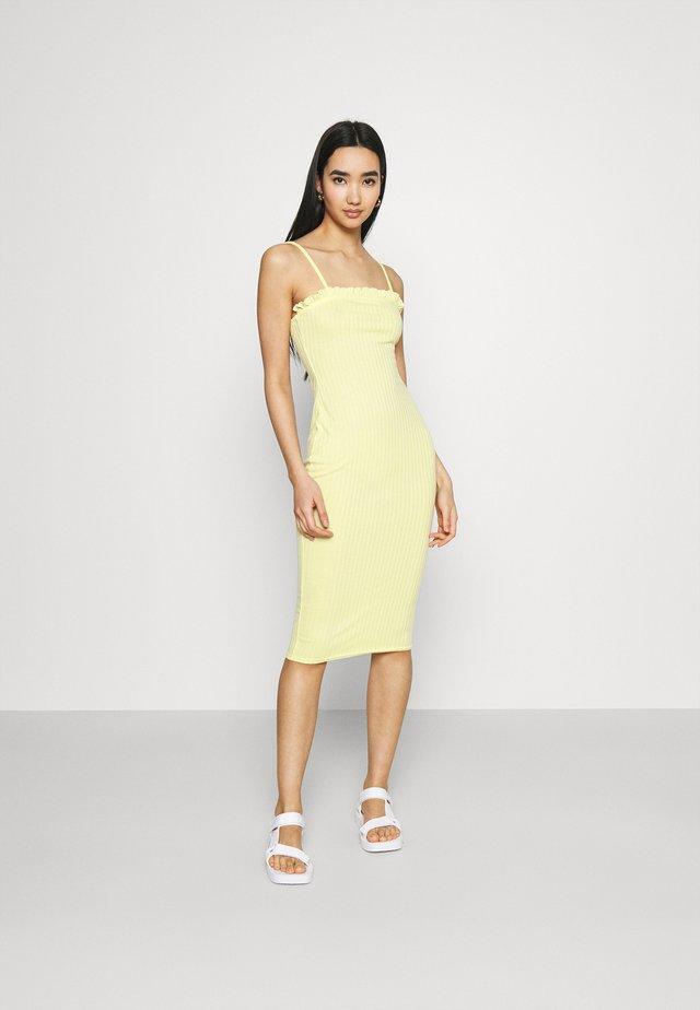 LETTUCE EDGE MIDI DRESS - Jersey dress - lemon