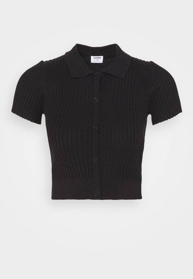 BUTTON ME UP POLO - Jednoduché triko - black