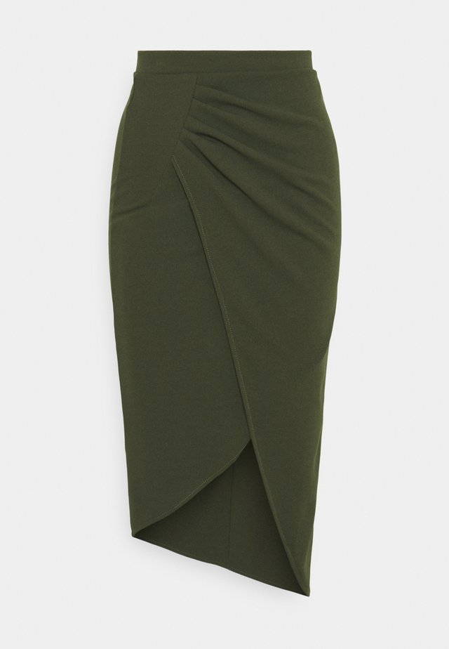 HATTIE SIDE WRAI MIDI SKIRT - Pencil skirt - khaki