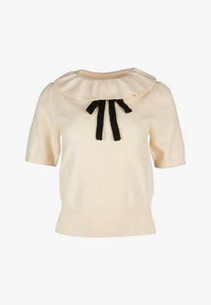 FRILL NECK & PUSSY BOW KNITTED - Top - ivory