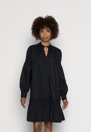 DRESS SMOCK DETAILS AT SLEEVE AND SKIRT LONGSLEEVE - Day dress - black