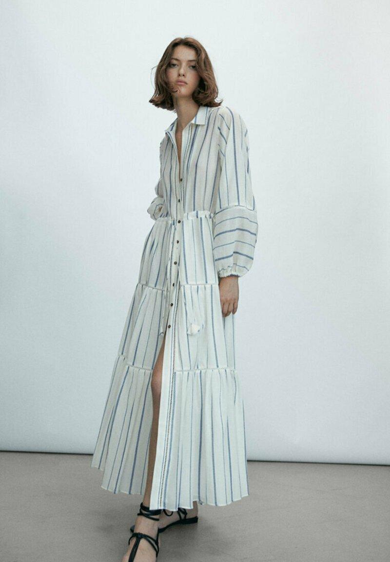 Massimo Dutti - STREIFEN - Maxi dress - white