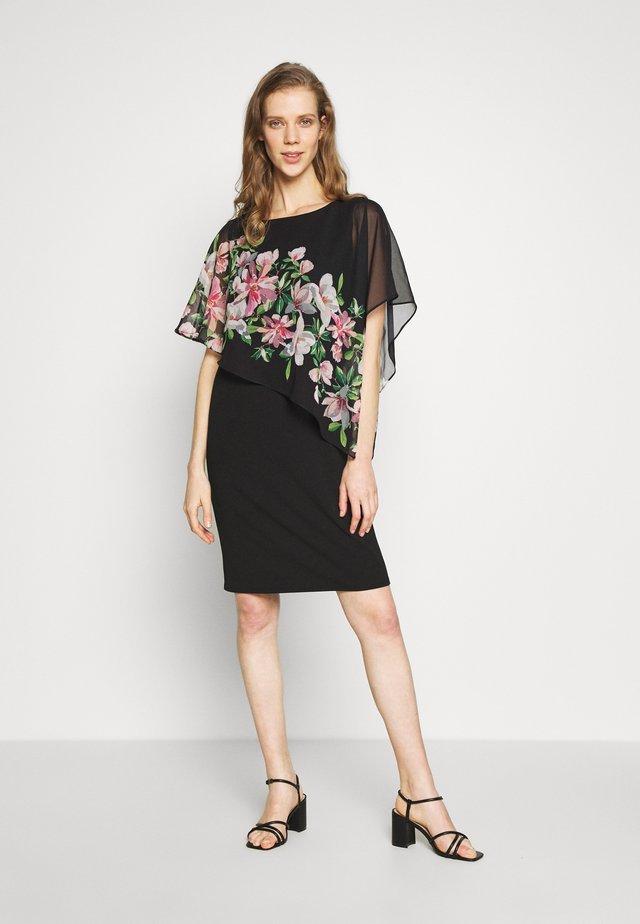 WATERLILY OVERLAYER DRESS - Korte jurk - black