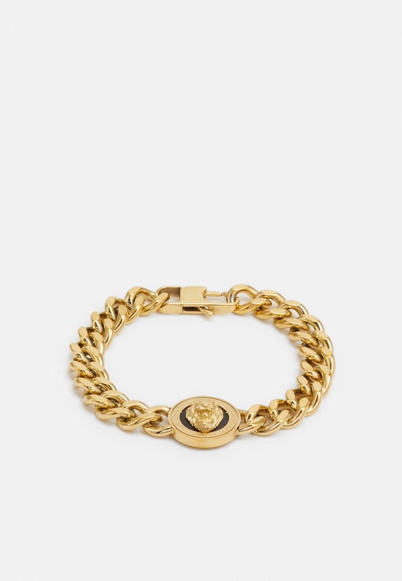 Guess - LION COIN CHAIN BRACELET UNISEX - Pulsera - gold-coloured/black