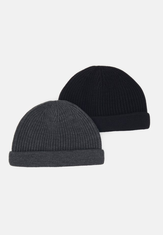 ONSSHORT BEANIE 2 PACK - Bonnet - black/dark grey melange