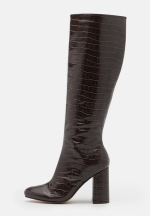 KARMA KNEE HIGH CROC  - High heeled boots - choc