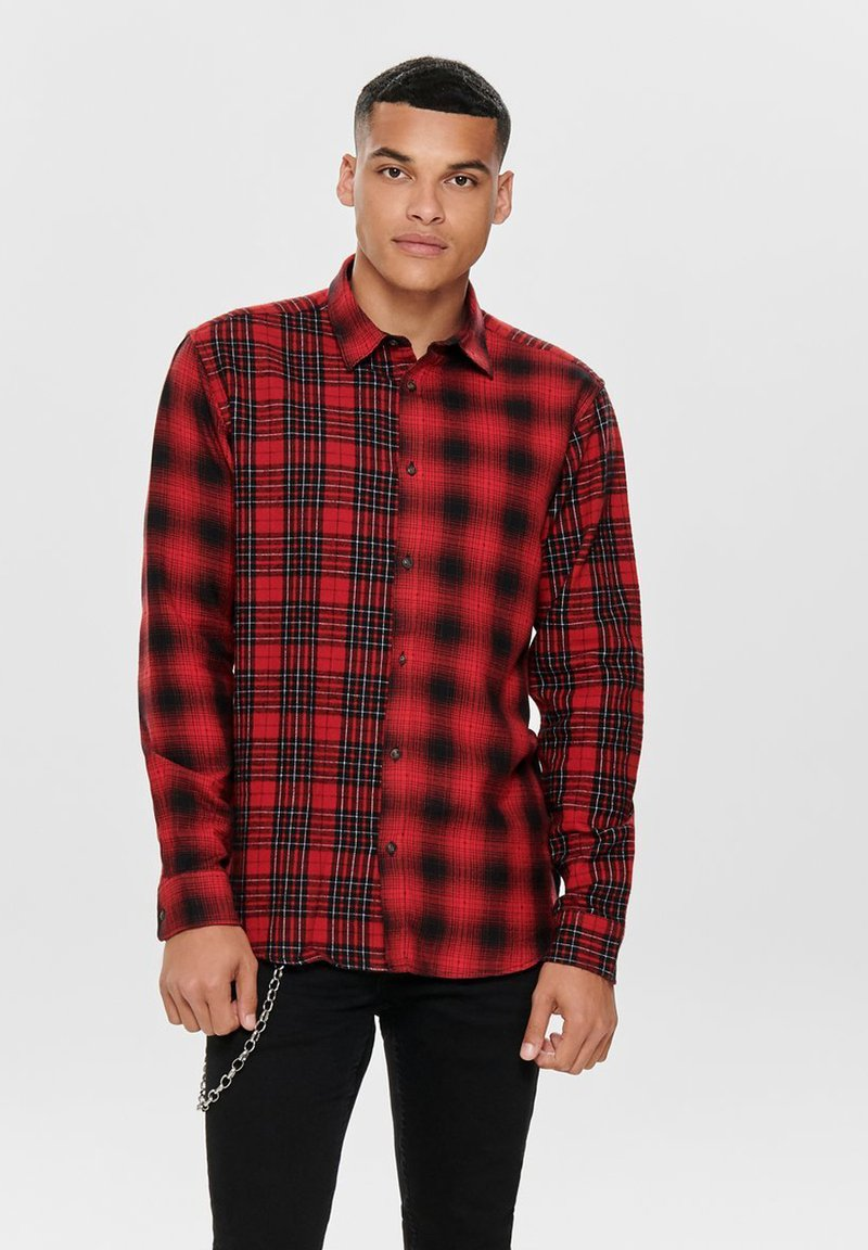 Only & Sons - ONSOZEAN MIXED CHECKED REGULAR SHIRT - Shirt - light red