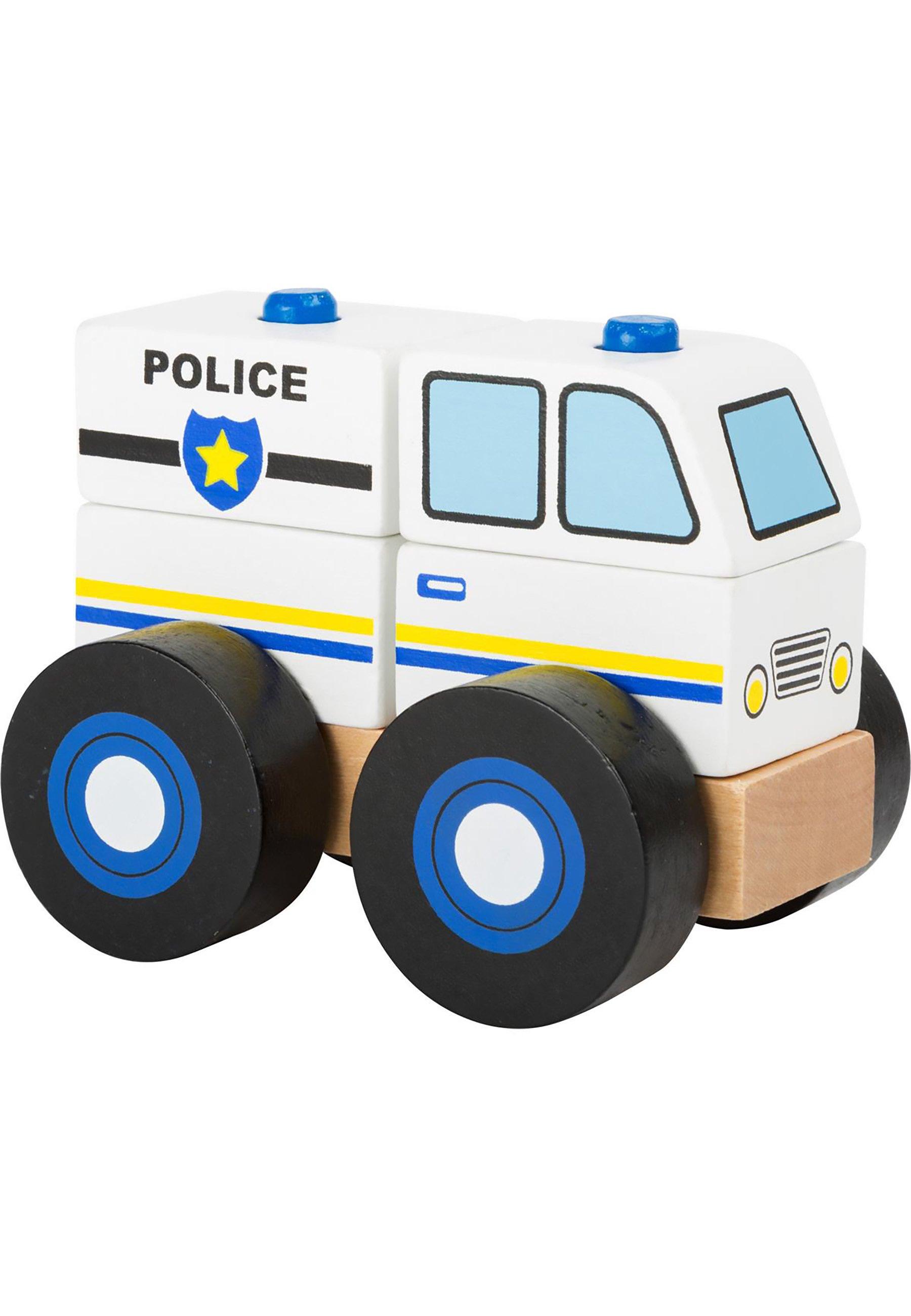 Kinder FAHRZEUGE KONSTRUKTIONSFAHRZEUG POLIZEI - Holzspielzeug