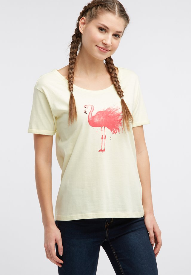 Print T-shirt - hellgelb