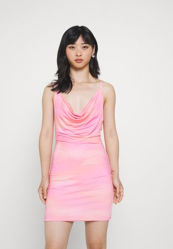 SLINKY COWL RUCHED MINI DRESS - Jerseykjole - pink