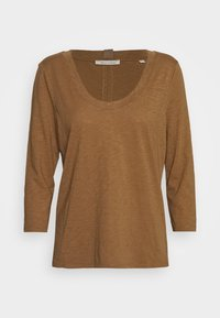 Marc O'Polo - 3/4 SLEEVE ROUNDED V NECK - Long sleeved top - deep tobacco - 4