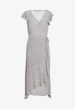 WRAP RUFFLE HEM MIDI  - Day dress - white/black