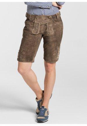 "LEDERHOSE ""ODETTE"" - Leather trousers - dunkelbraun"