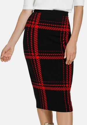 MIT KARODESSIN - Pencil skirt - schwarz/ chili