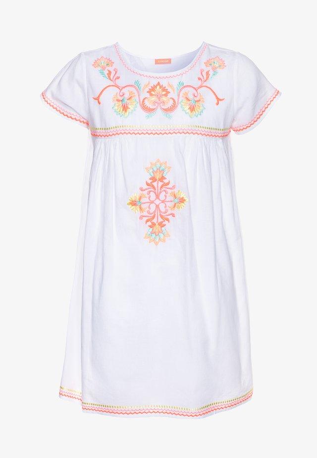 GIRLS EMBROIDERED PERUVIAN STITCH DRESS - Beach accessory - white