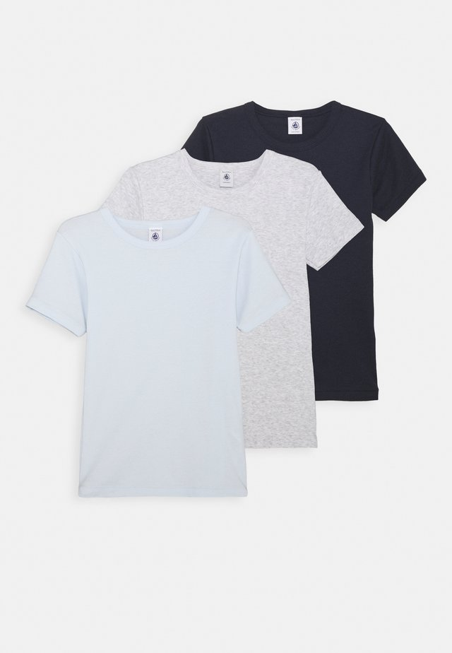3 PACK - T-shirt basic - grey/dark blue/blue