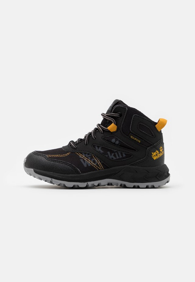 WOODLAND TEXAPORE MID UNISEX - Obuwie hikingowe - black/burly yellow
