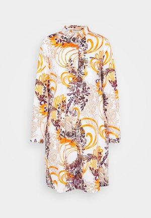 KLEID - Shirt dress - sand/black/orange