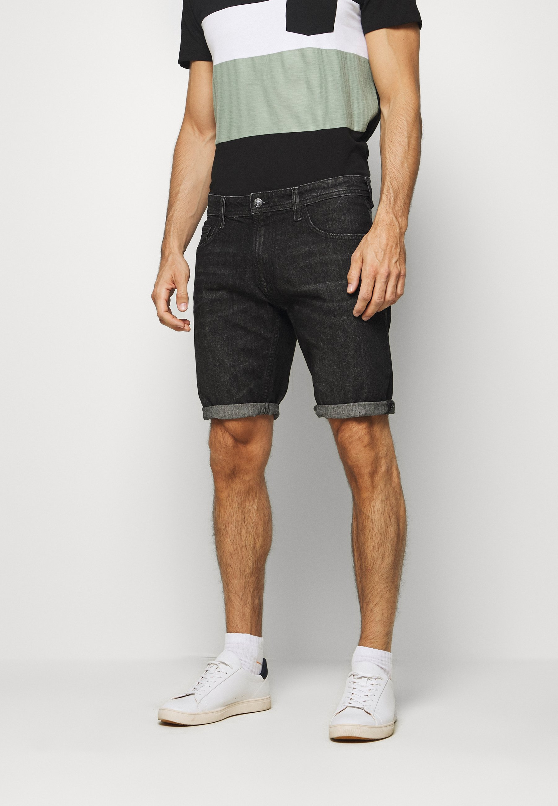 TOM TAILOR DENIM REGULAR FIT - Jeansshorts - dark stone wash denim
