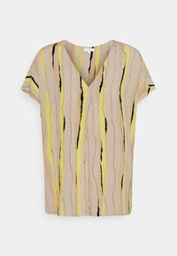 mine to five TOM TAILOR - BLOUSE V NECK PRINTED - T-shirts med print - yellow/beige - 0