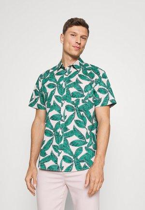 Shirt - pink multi palm leaves