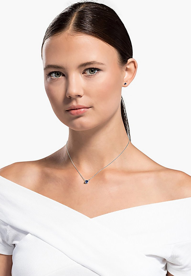 Swarovski - ATTRACT ROUND SET, BLUE, RHODIUM PLATED - Earrings - silber