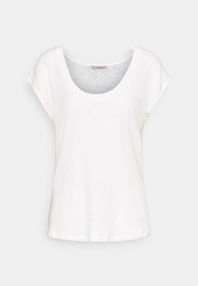 T-SHIRT-LINEN BLEND - T-shirt imprimé - off-white