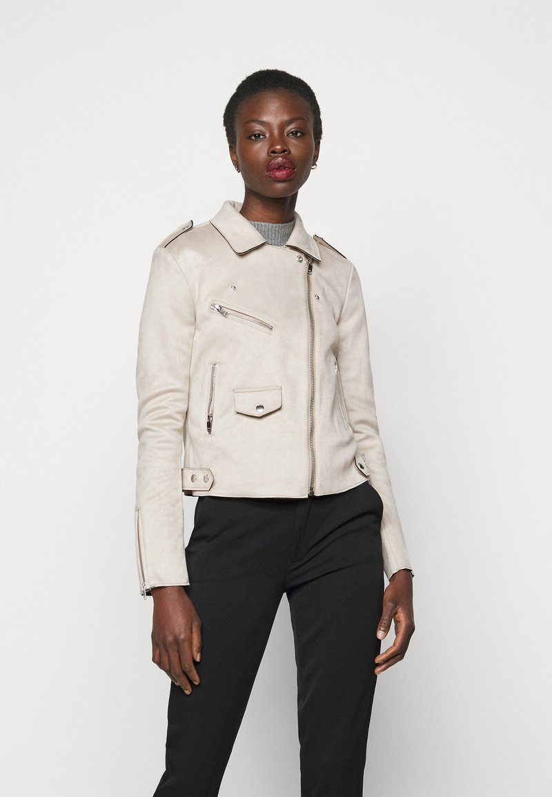 ONLY Tall - ONLSHERRY BONDED BIKER - Faux leather jacket - pumice stone