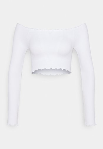 SEAM FREE OFF THE SHOULDER LONG SLEEVE - Long sleeved top - white