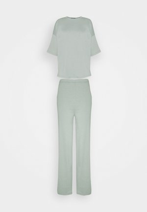 WIDE LEG SET - Tracksuit bottoms - sage