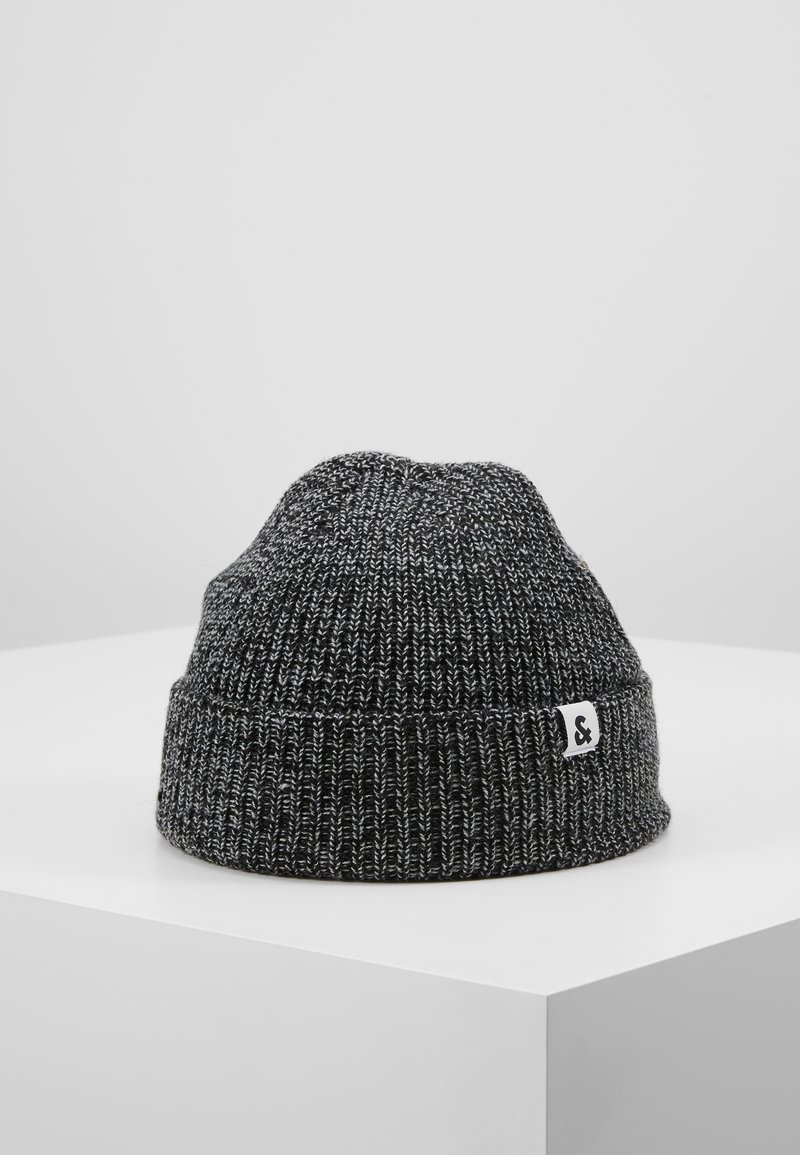 Jack & Jones - JACTWISTED SHORT BEANIE - Muts - black/grey melange