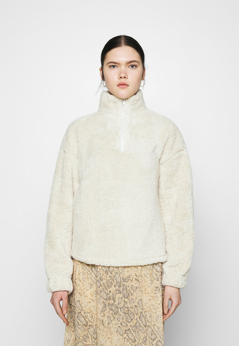 Nly by Nelly - HALF ZIP - Fleece jumper - offwhite turtledove