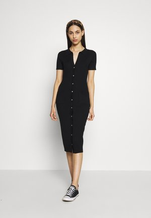 COLLAR PLUNGE BUTTON UP DRESS - Jumper dress - black