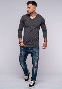 Jack & Jones - INFINITY  - Long sleeved top - dark grey melange