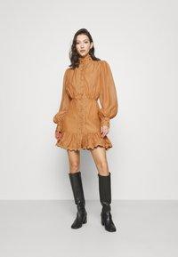 Missguided - PREMIUM BALLOON SLEEVE FRILL HEM MINI - Day dress - beige - 0