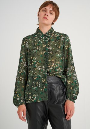 BARBELIW - Button-down blouse - green olive dried flowers