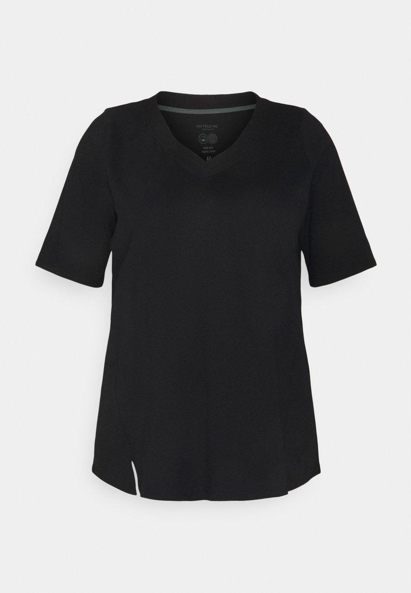 MY TRUE ME TOM TAILOR - V-NECK - Basic T-shirt - deep black