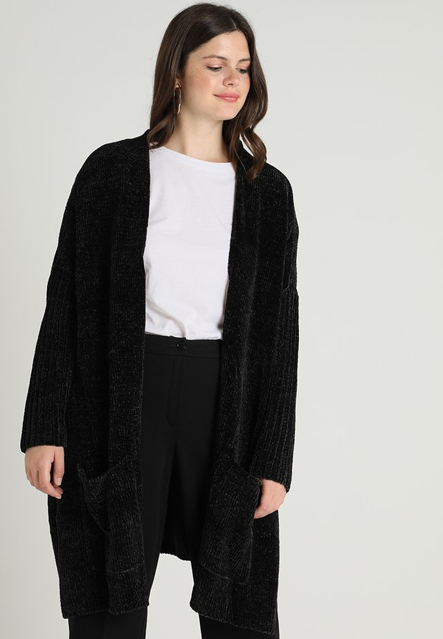 LADIES OVERSIZE CARDIGAN - Vest - black