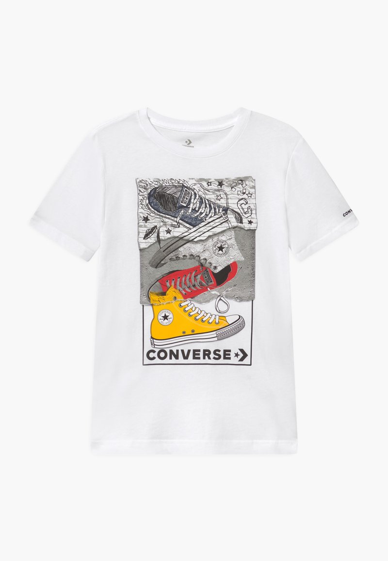 Converse - MIXED MEDIA SNEAKER STACK TEE - T-shirt con stampa - white