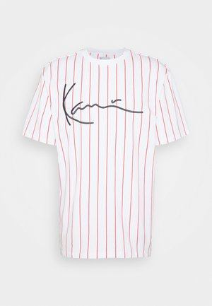 SIGNATURE PINSTRIPE TEE - T-Shirt print - white