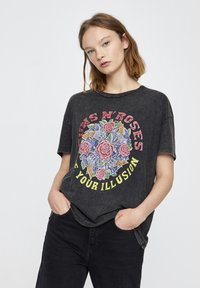 PULL&BEAR - T-shirt print - mottled dark grey - 0