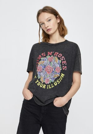 T-shirt con stampa - mottled dark grey