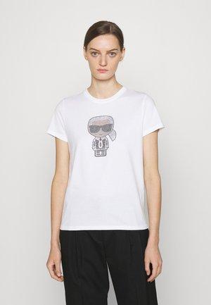 IKONIK RHINESTONE KARL - T-shirt imprimé - white