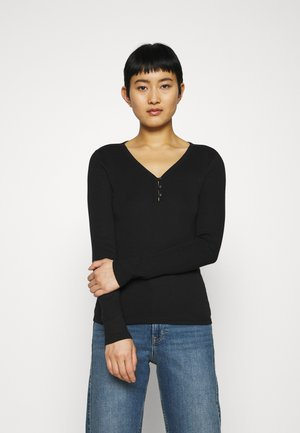 HENLEY - Long sleeved top - true black