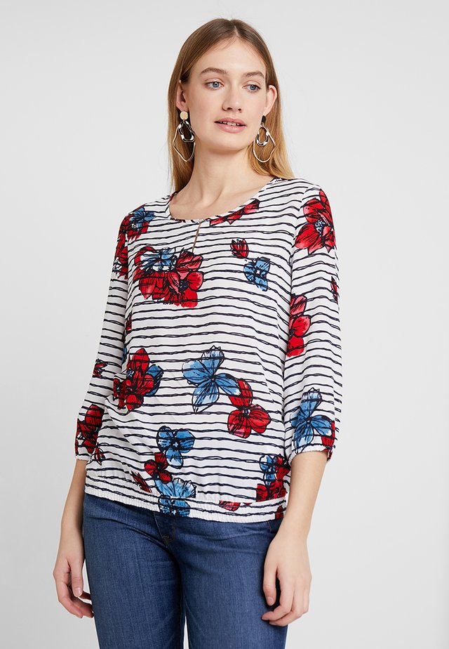 Blouse - offwhite/navy/red
