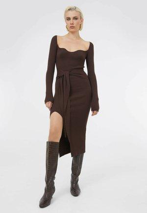 Gebreide jurk - braun