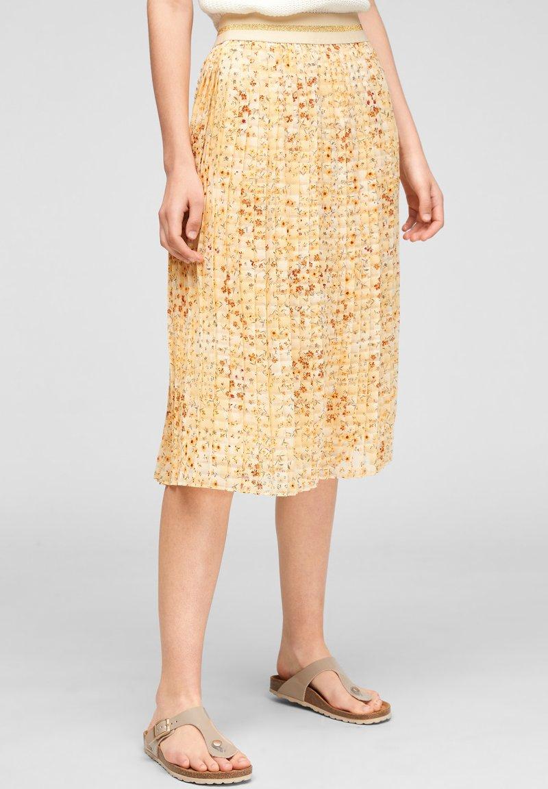 s.Oliver - A-line skirt - sunlight yellow aop